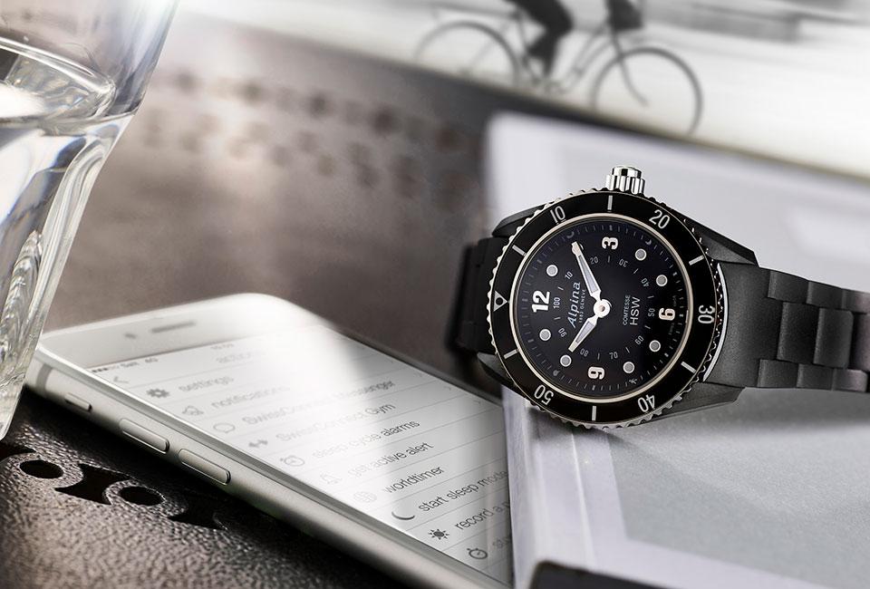 Alpina Comtesse Horological Smartwatch Black Bracelet, Black Dial and Black Bezel
