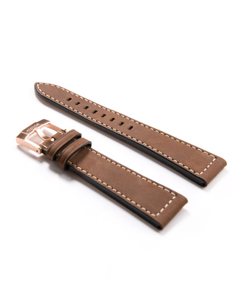 Dark Brown Leather Watch Strap with Rose Gold Plated Buckle