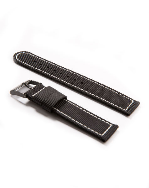 Nylon Watch Strap Alpina Startimer Pilot Quartz Black with Stainless Steel Buckle